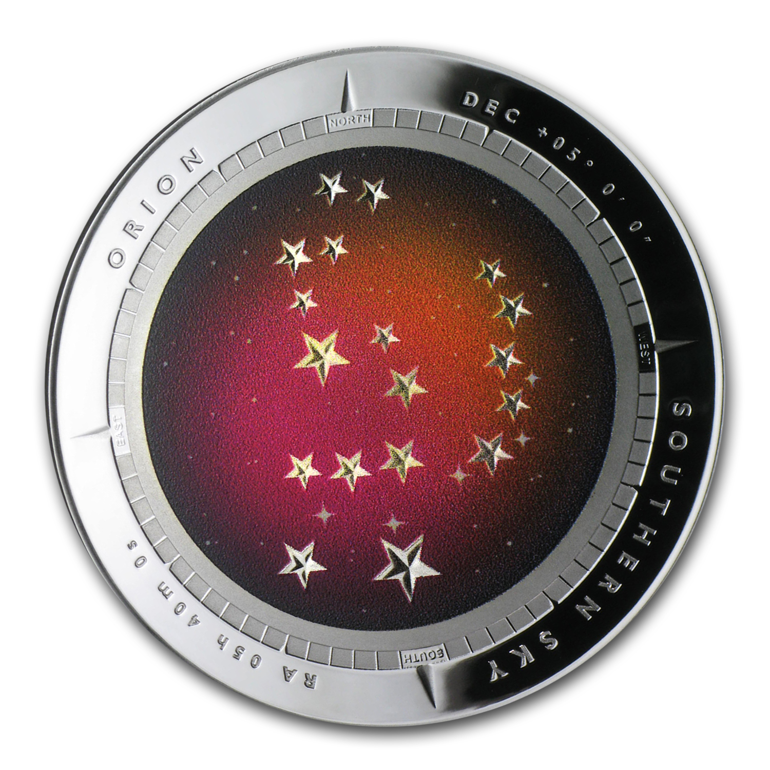 2014 Australia Silver $5 Color Domed Southern Sky Orion